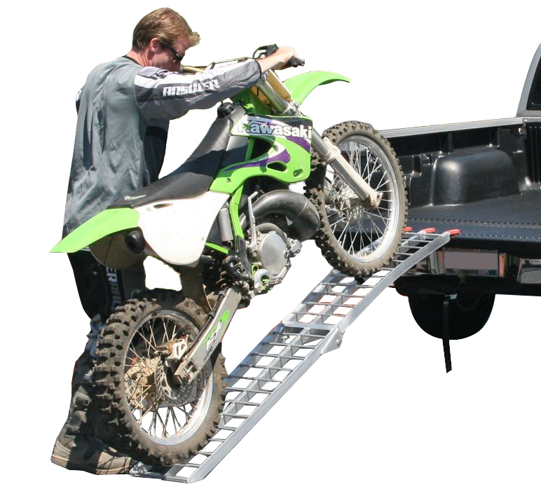 A single runner ramp makes transporting your motorcycle easy