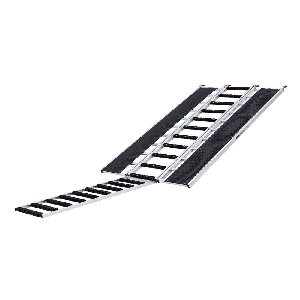 SNO-9454-HDXW-EXT-S 7 10 Black Ice Tri-Fold Snowmobile Ramp wExtension Stud Protectors