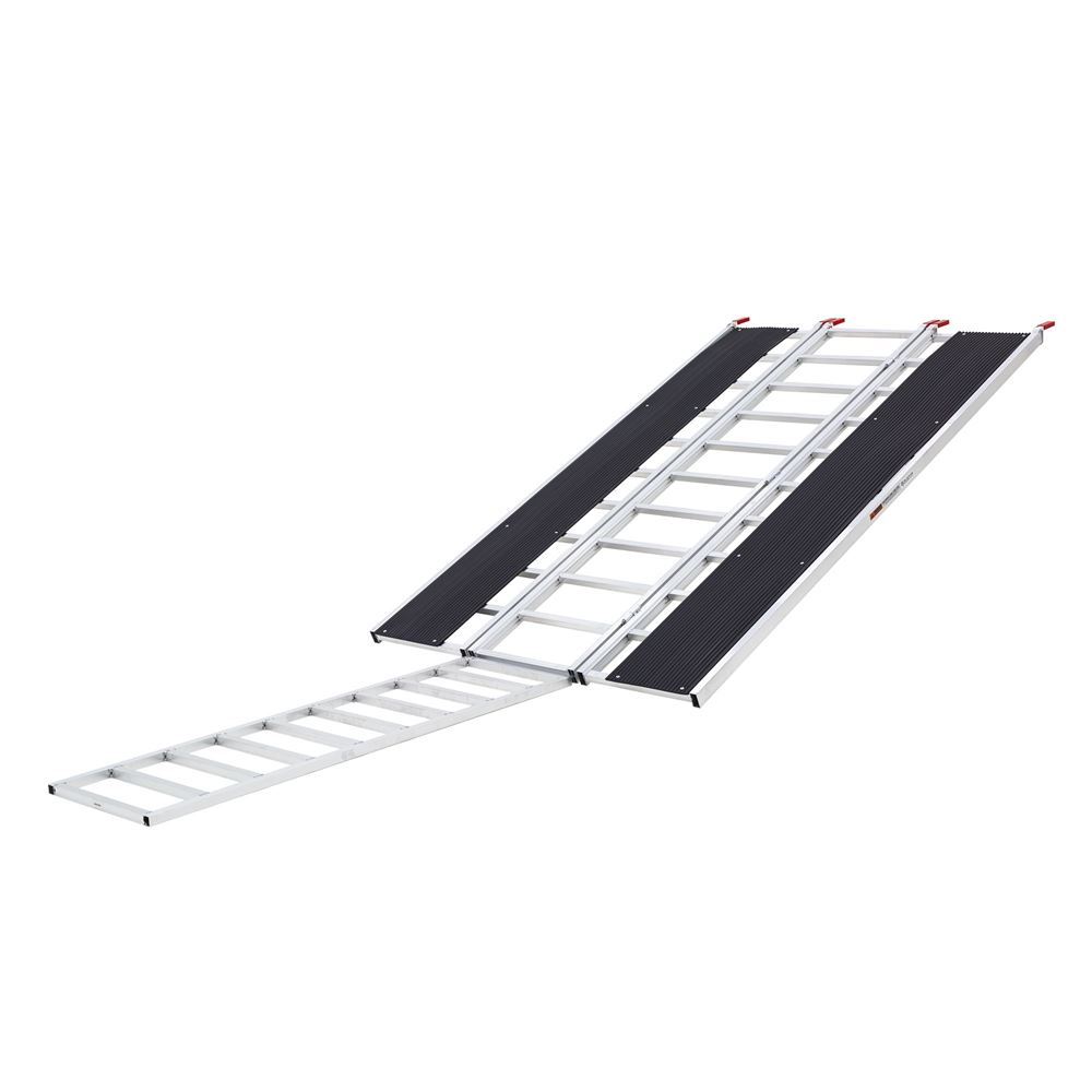 SNO-9454-HDXW-EXT 7 10 Black Ice Tri-Fold Snowmobile Ramp wExtension