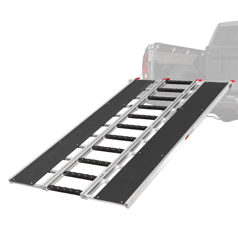 SNO-9454-HDXW-S 7 10 Black Ice Tri-Fold Snowmobile Ramp wStud Protectors